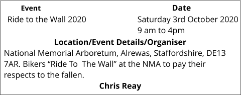 "Ride to the Wall 2020 	 Location/Event Details/Organiser National Memorial Arboretum, Alrewas, Staffordshire, DE13 7AR. Bikers ""Ride To  The Wall"" at the NMA to pay their respects to the fallen.  Chris Reay Saturday 3rd October 2020 9 am to 4pm			 Event					                  Date"